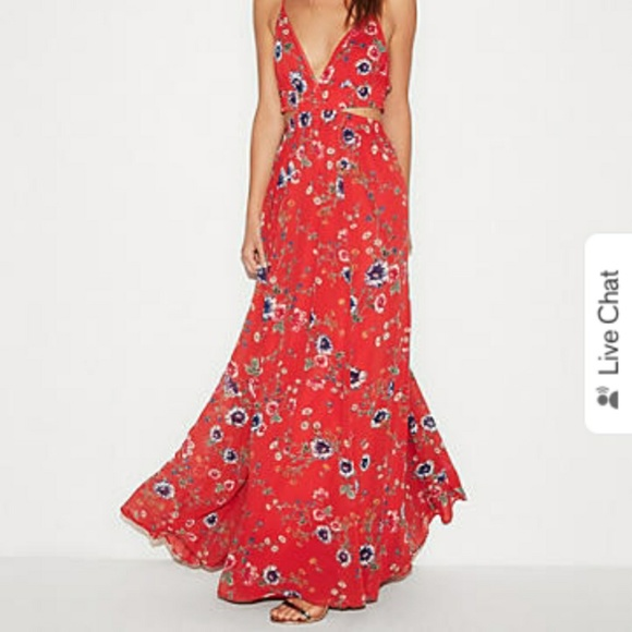 Express Dresses   Skirts - EXPRESS red floral pattern cut out maxi dress  NWOT 0c71bae96